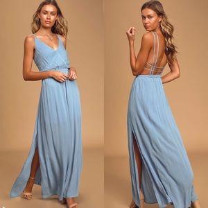 Lulus lost in paradise slate blue maxi dress Med